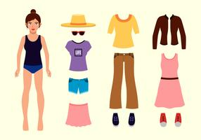 Beautiful Girl Paper Doll vector