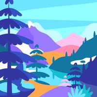 Mountain Landscape Pop Color Vector