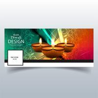 Beautiful Happy diwali diya oil lamp festival facebook cover des