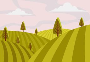 Vineyard Scenery First Person Vector Illustration