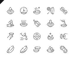 Simple Set Eye Lens Line Icons for Website and Mobile Apps. vector
