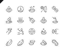 Simples conjunto de ícones de linha de lente de olho para o site e aplicativos móveis.