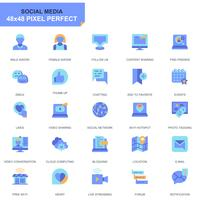 Simple Set Social Media and Network Flat Icons for Website and Mobile Apps