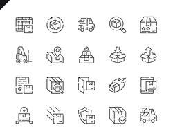 Eenvoudige set verzendlijn pictogrammen voor website en mobiele apps.