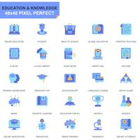 Simple Set Education and Knowledge Flat Icons for Website and Mobile Apps