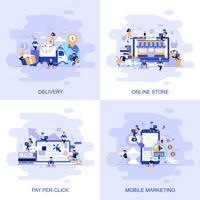 Banner de web de concepto plano moderno de tienda en línea, pago por clic, marketing móvil y entrega con carácter de personas pequeñas decoradas.