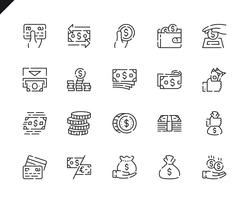 Simple Set Money Line Icons voor Website en Mobiele Apps.