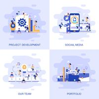 Modern flat concept web banner of Social Media, Our Team, Portfolio and Project Development with decorated small people character.