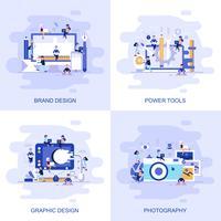 Modernt platt begreppswebbanner av fotografi, grafisk design, elverktyg och varumärkesdesign med inredda småpersoners karaktär.