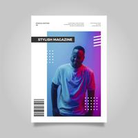 Plantilla de portada de revista con estilo moderno y plano