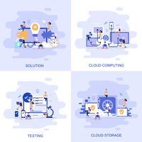 Bandeira de web moderno conceito plana de testes, solução, computação em nuvem e armazenamento em nuvem com caráter de pessoas pequenas decorados.