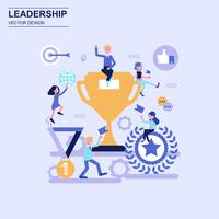 Leadership flat design concept blue style with decorated small people character.