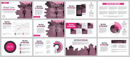 Apresentação de negócios rosa slides modelos de elementos de infográfico.