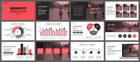 Plantillas de diapositivas de presentación de negocios rojo y negro de elementos infográficos