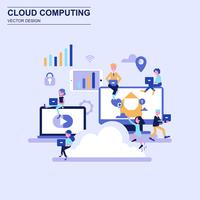 Cloud computing flat design concept blue style with decorated small people character.