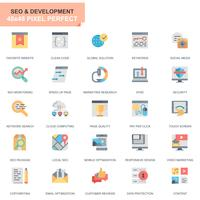 Simple Set Seo et optimisation Web Icônes plates pour site Web et applications mobiles