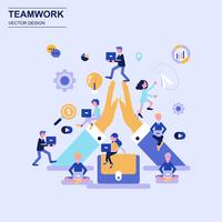 Teamwork and business flat design concept blue style with decorated small people character.