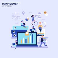 Management flat design concept blue style with decorated small people character.