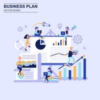 Business plan flat design concept blue style with decorated small people character.