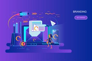 Modern gradient flat line concept web banner of branding with decorated small people character. Landing page template.