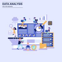 Big data analysis flat design concept