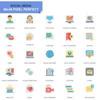 Conjunto simples de mídia Social e ícones planos de rede para o site e aplicativos móveis