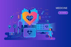Bannière web concept moderne ligne plate gradient de médecine et de soins de santé avec caractère décoré de petit peuple Modèle de page de destination.