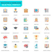 Simple Set Education and Knowledge Flat Icons