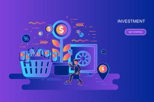 Modern gradient flat line concept web banner of investment and growth economy with decorated small people character. Landing page template.