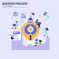 Business process flat design concept blue style with decorated small people character.