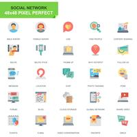 Simple Set Social Media en Network Flat Icons voor website en mobiele apps