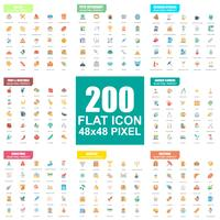 Eenvoudige set van vector plat pictogrammen. Platte pictogram pack. 48x48 Pixel Perfect.