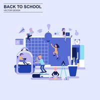Back to school flat design concept blue style with decorated small people character.