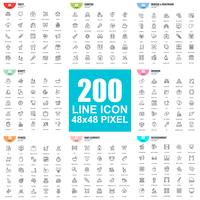 Simple set of vector thin line icons. Linear pictogram pack. 48x48 Pixel Perfect.