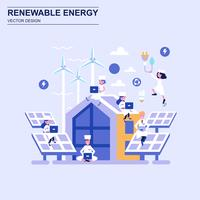 Renewable energy flat design concept blue style with decorated small people character.