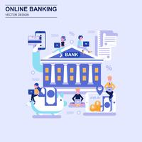 Online banking flat design concept blue style with decorated small people character.