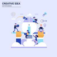 Creatieve idee conceptontwerp blauwe stijl met ingerichte kleine mensen teken.