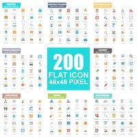 Ensemble simple d'icônes de plat vectorielles. Pack de pictogrammes plats. 48x48 Pixel Parfait.