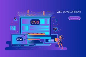 Modern gradient platt linjekoncept webb banner av webbutveckling med dekorerad liten person karaktär. Målsida mall.
