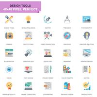 Simple Set Design Tools Platte pictogrammen voor website en mobiele apps
