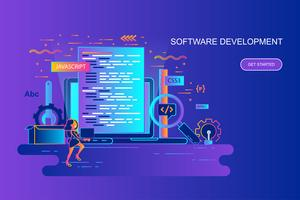 Modern gradient flat line concept web banner of software development with decorated small people character. Landing page template.