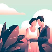 Couple In Formalwear  Tropical Leaves
