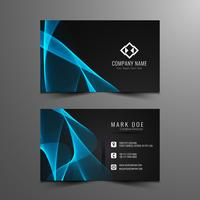 Abstract modern blue wavy business card template