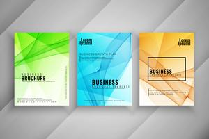 Abstract elegant wavy business brochure set