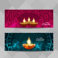Bandiere decorative di Diwali astratto felice messe