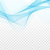 Abstract elegant blue wave design on transparent background