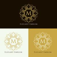 Abstract elegant emblem design set