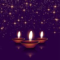 glad diwali gnistrar bakgrund med diya