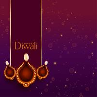 beautiful happy diwali diya decoration background