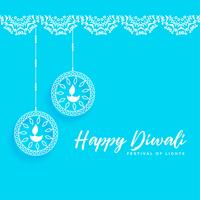 happy diwali background with celebration lamps